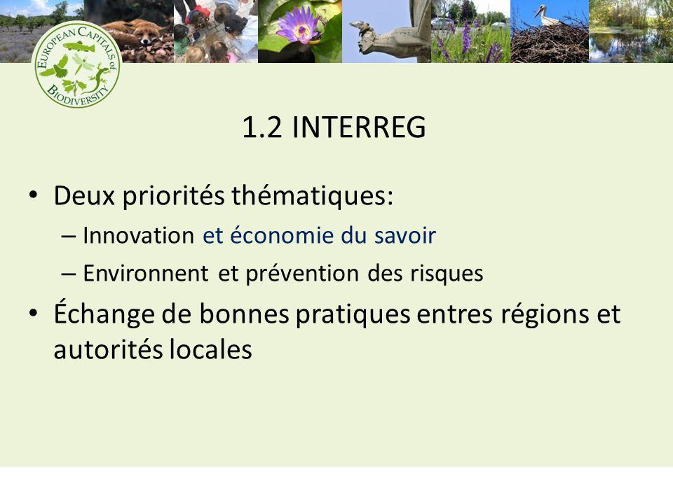 1.2 INTERREG Deux priorités thématiques: – Innovation et économie du savoir – Environnent et prévention des risques Échange de bonnes pratiques entres régions et autorités locales