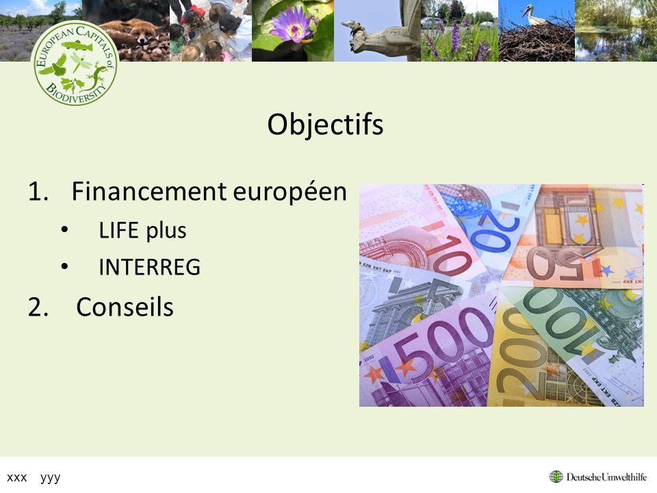 Objectifs 1.Financement européen LIFE plus INTERREG 2. Conseils xxx yyy
