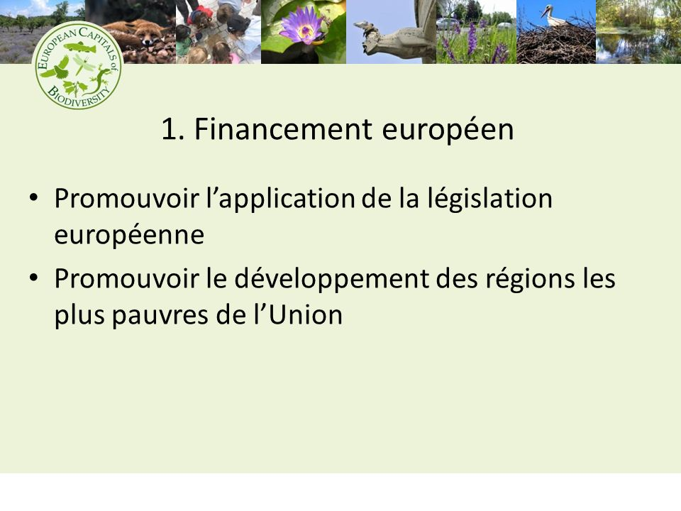 1. Financement européen Promouvoir lapplication de la législation européenne Promouvoir le développement des régions les plus pauvres de lUnion