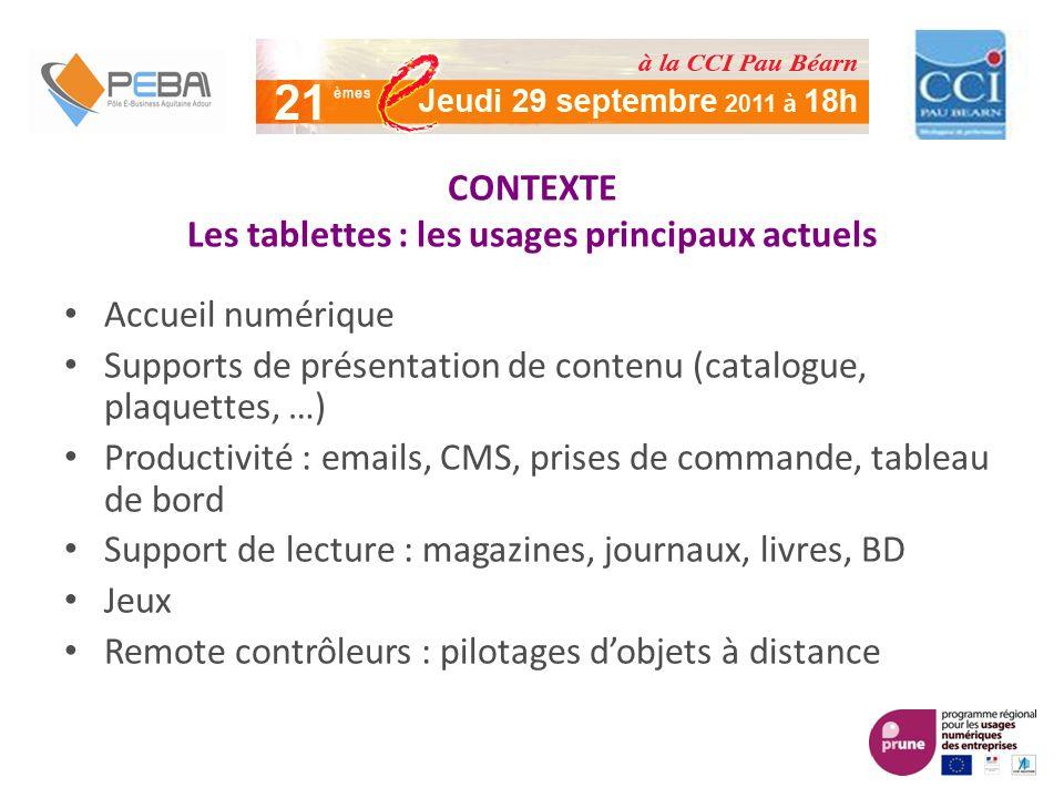 CONTEXTE Les tablettes : les usages principaux actuels Accueil numérique Supports de présentation de contenu (catalogue, plaquettes, …) Productivité :