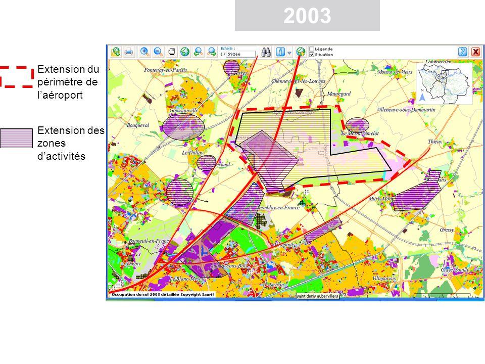 Périmètre de laéroport en 1982 Extension du périmètre Zones dactivités en 1982 Extension des zones dactivités Roissy Ch de Gaulle Les mutations spatiales autour dun aéroport international : extension des zones dactivités autour de Roissy Ch de Gaulle