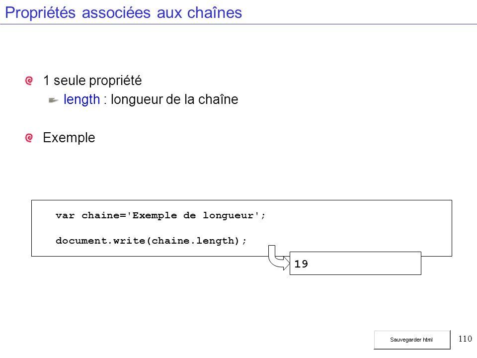 110 Propriétés associées aux chaînes 1 seule propriété length : longueur de la chaîne Exemple var chaine= Exemple de longueur ; document.write(chaine.length); 19