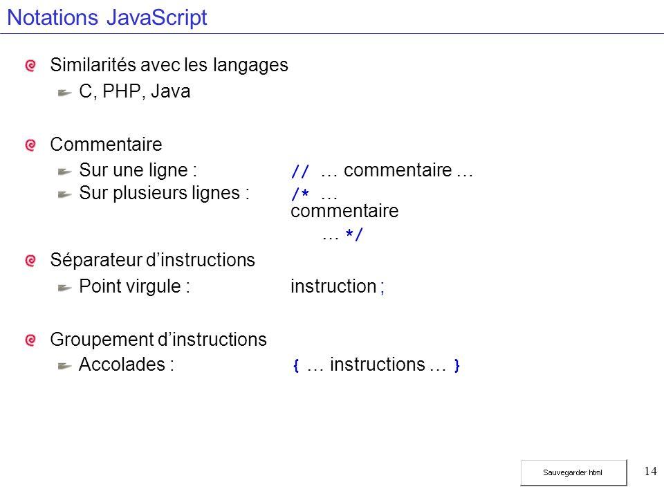 14 Notations JavaScript Similarités avec les langages C, PHP, Java Commentaire Sur une ligne : // … commentaire … Sur plusieurs lignes : /* … commentaire … */ Séparateur dinstructions Point virgule :instruction ; Groupement dinstructions Accolades : { … instructions … }