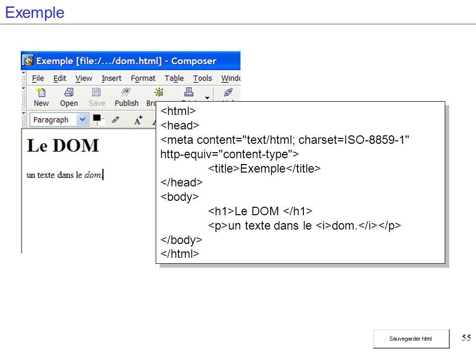 55 Exemple Exemple Le DOM un texte dans le dom.
