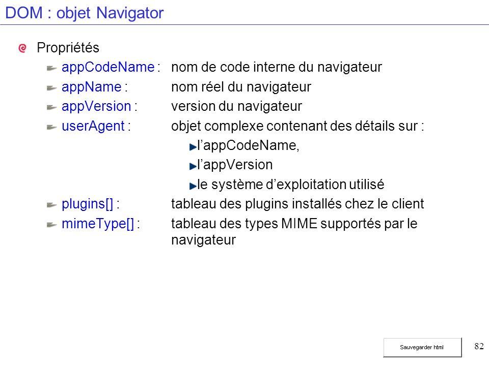 82 DOM : objet Navigator Propriétés appCodeName :nom de code interne du navigateur appName :nom réel du navigateur appVersion :version du navigateur userAgent :objet complexe contenant des détails sur : lappCodeName, lappVersion le système dexploitation utilisé plugins[] :tableau des plugins installés chez le client mimeType[] :tableau des types MIME supportés par le navigateur