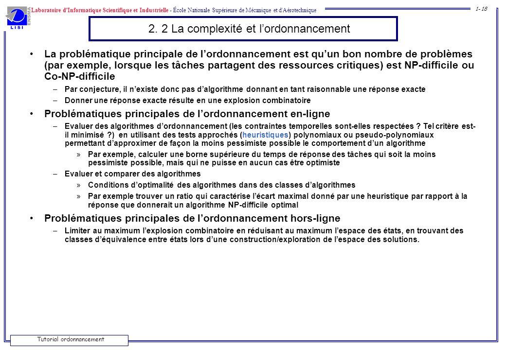 Laboratoire d'Informatique Scientifique et Industrielle - École Nationale Supérieure de Mécanique et d'Aérotechnique 1- 18 Tutorial ordonnancement 2.