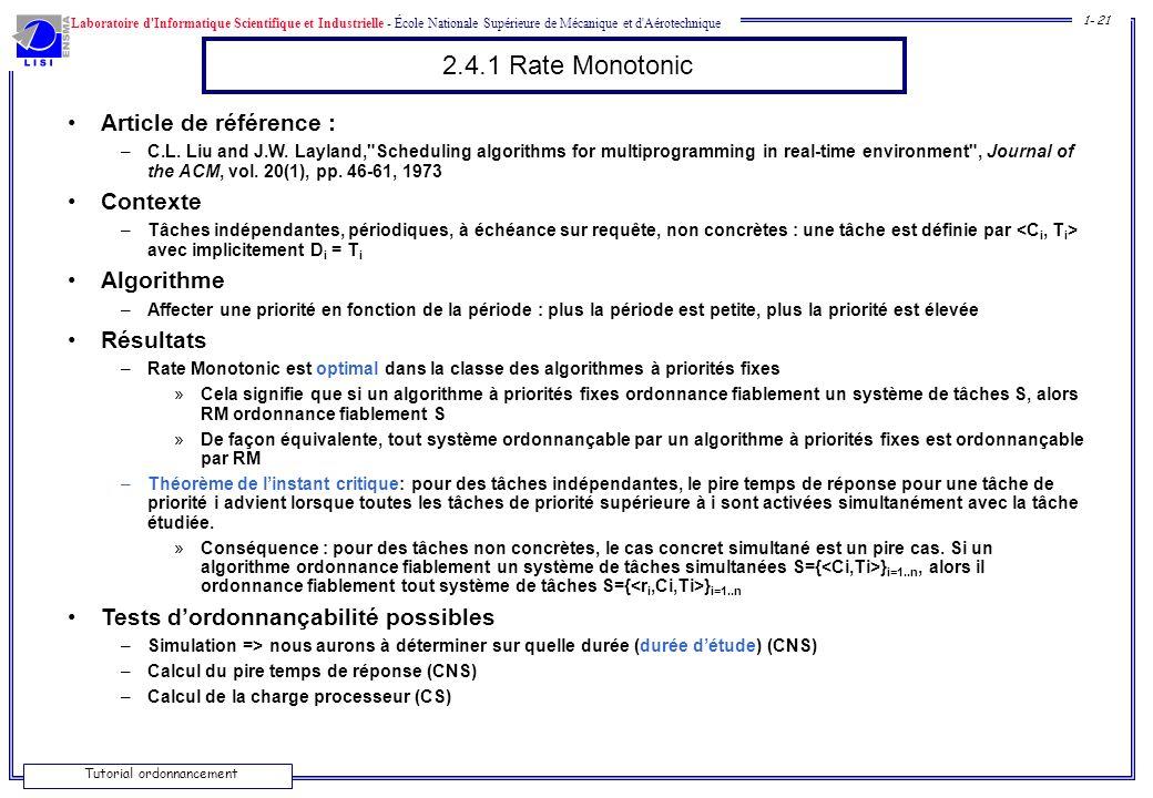 Laboratoire d'Informatique Scientifique et Industrielle - École Nationale Supérieure de Mécanique et d'Aérotechnique 1- 21 Tutorial ordonnancement 2.4
