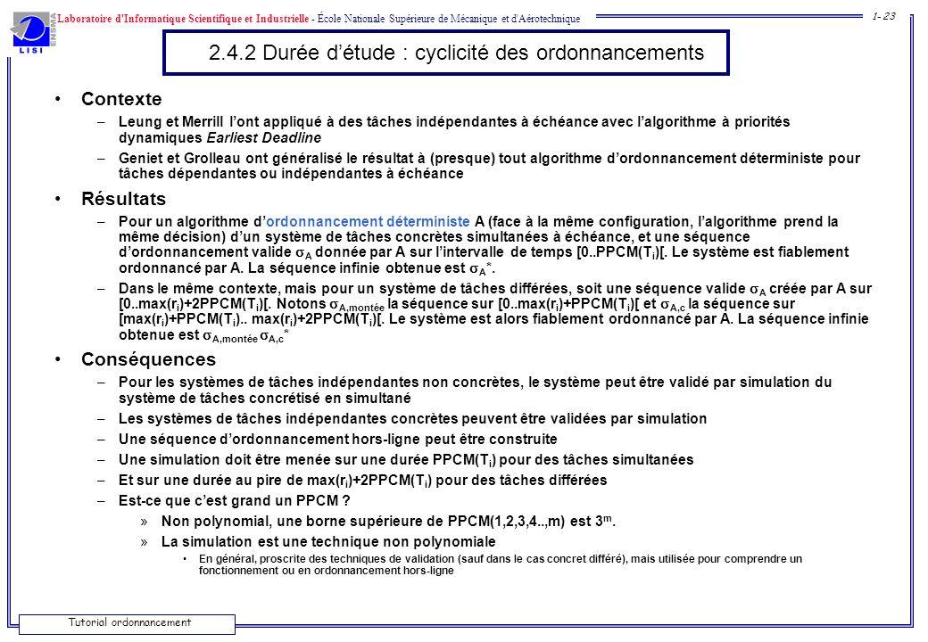 Laboratoire d'Informatique Scientifique et Industrielle - École Nationale Supérieure de Mécanique et d'Aérotechnique 1- 23 Tutorial ordonnancement 2.4
