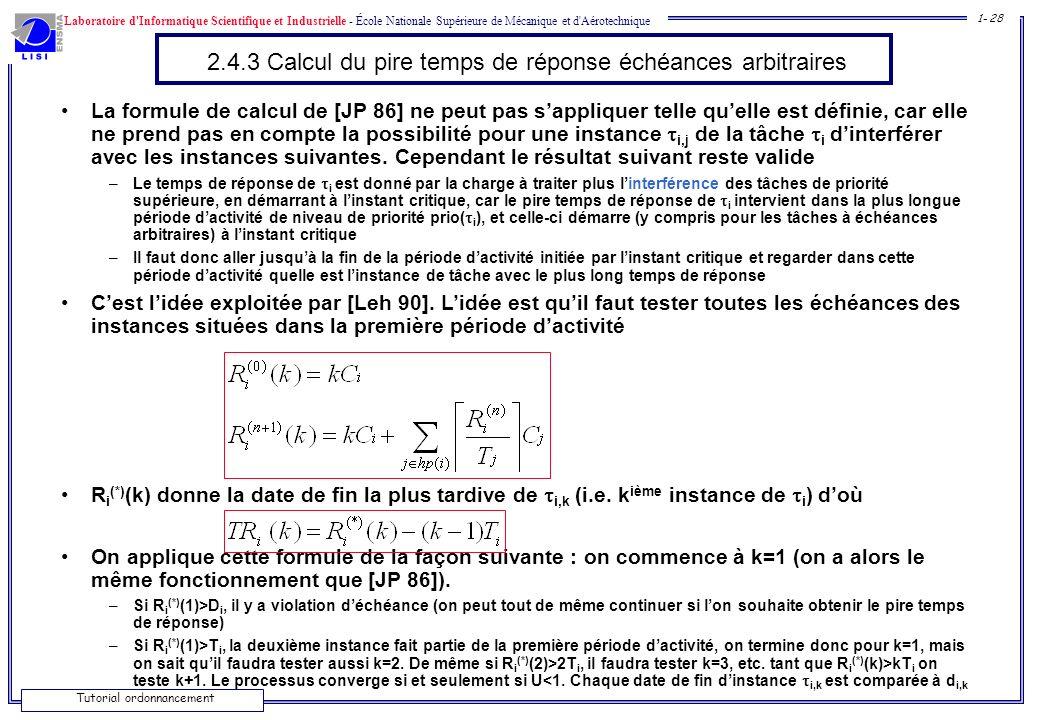 Laboratoire d'Informatique Scientifique et Industrielle - École Nationale Supérieure de Mécanique et d'Aérotechnique 1- 28 Tutorial ordonnancement 2.4