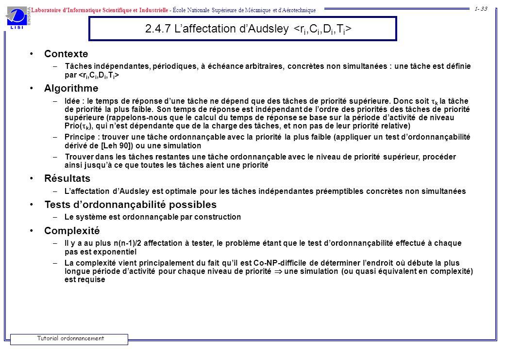 Laboratoire d'Informatique Scientifique et Industrielle - École Nationale Supérieure de Mécanique et d'Aérotechnique 1- 33 Tutorial ordonnancement 2.4