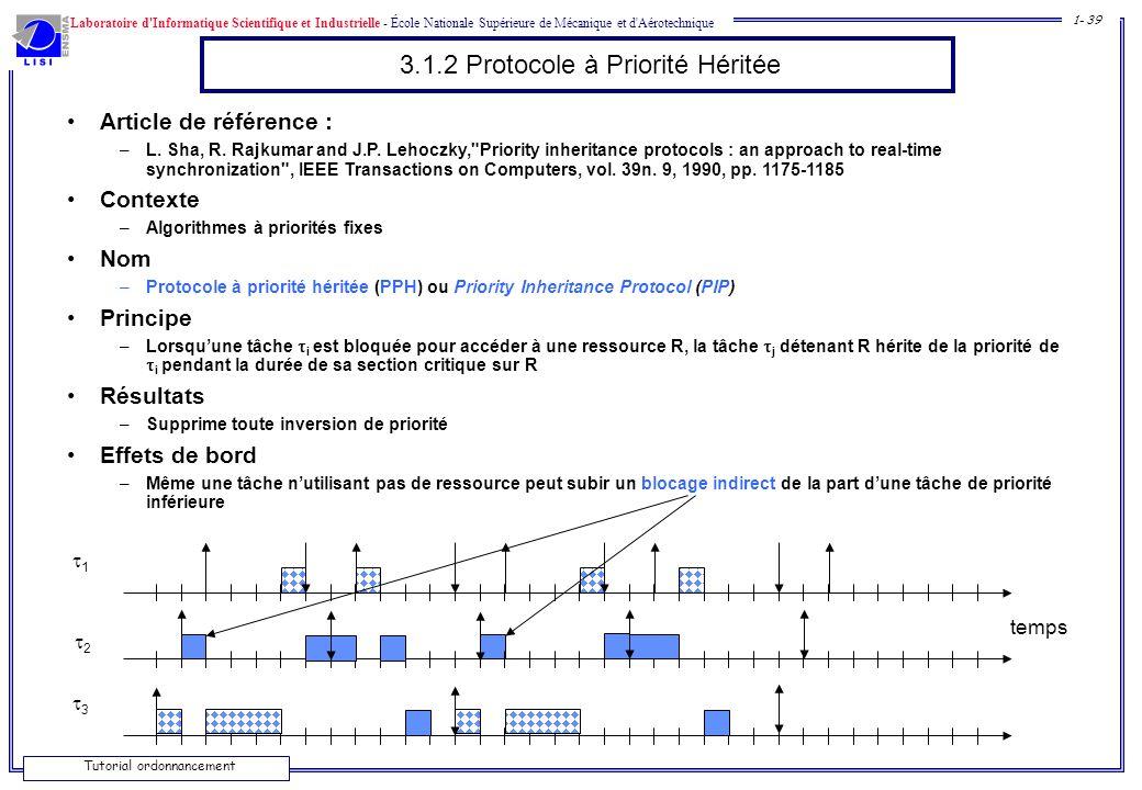 Laboratoire d'Informatique Scientifique et Industrielle - École Nationale Supérieure de Mécanique et d'Aérotechnique 1- 39 Tutorial ordonnancement 3.1