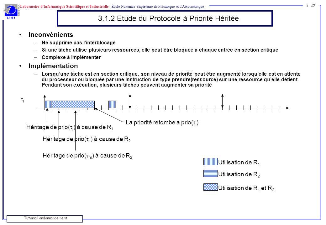 Laboratoire d'Informatique Scientifique et Industrielle - École Nationale Supérieure de Mécanique et d'Aérotechnique 1- 40 Tutorial ordonnancement 3.1