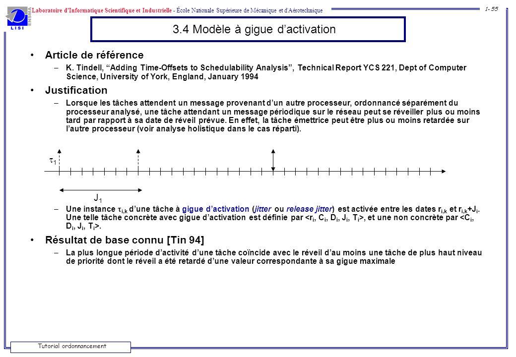 Laboratoire d'Informatique Scientifique et Industrielle - École Nationale Supérieure de Mécanique et d'Aérotechnique 1- 55 Tutorial ordonnancement 3.4