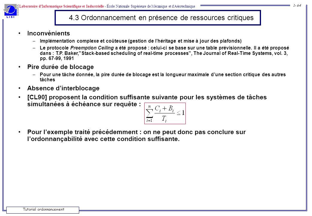 Laboratoire d'Informatique Scientifique et Industrielle - École Nationale Supérieure de Mécanique et d'Aérotechnique 1- 64 Tutorial ordonnancement 4.3