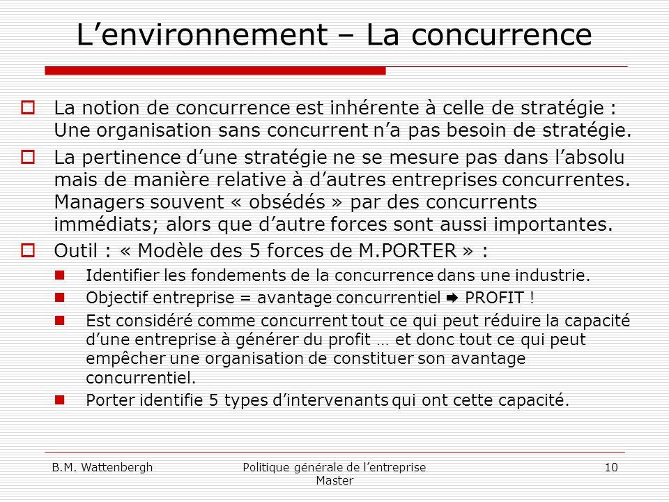 B.M. WattenberghPolitique générale de lentreprise Master 10 Lenvironnement – La concurrence La notion de concurrence est inhérente à celle de stratégi