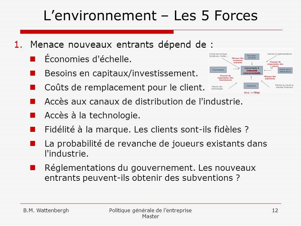 B.M. WattenberghPolitique générale de lentreprise Master 12 Lenvironnement – Les 5 Forces 1.Menace nouveaux entrants dépend de : Économies d'échelle.