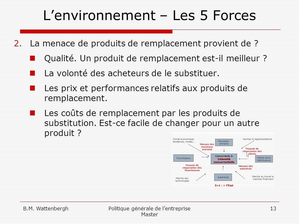B.M. WattenberghPolitique générale de lentreprise Master 13 Lenvironnement – Les 5 Forces 2.La menace de produits de remplacement provient de ? Qualit