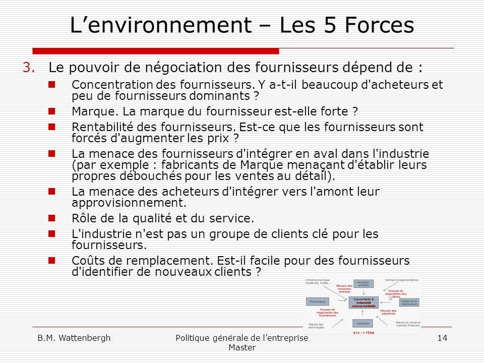 B.M. WattenberghPolitique générale de lentreprise Master 14 Lenvironnement – Les 5 Forces 3.Le pouvoir de négociation des fournisseurs dépend de : Con