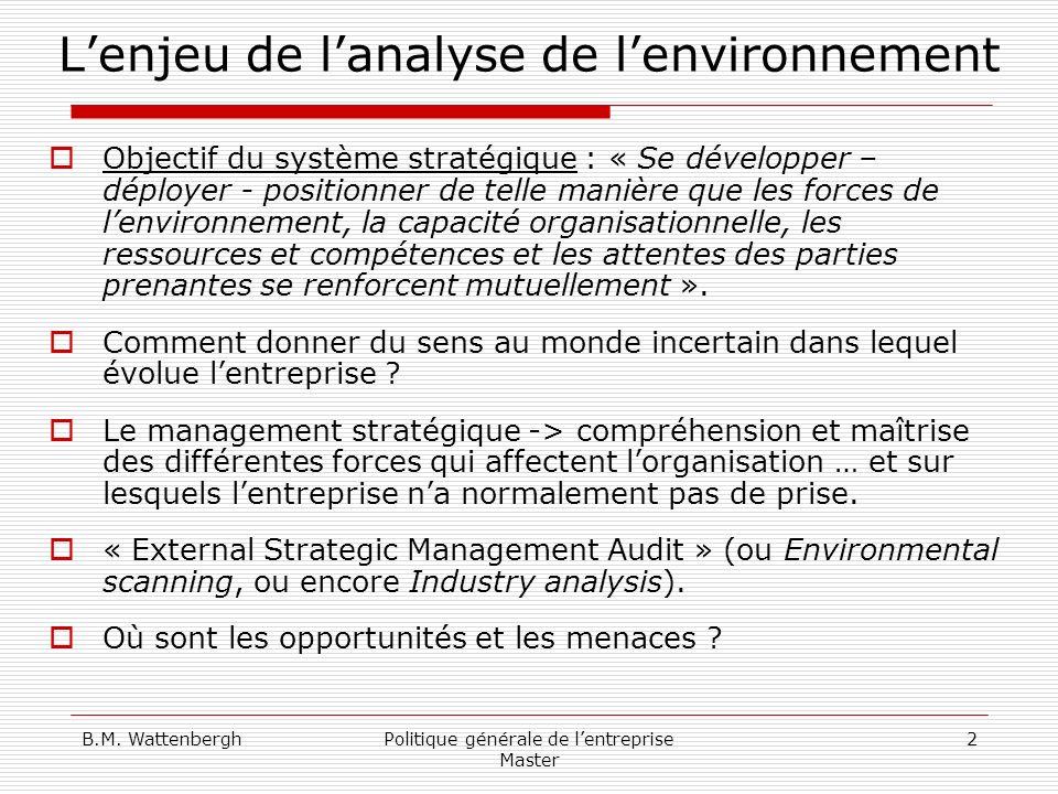 B.M. WattenberghPolitique générale de lentreprise Master 2 Lenjeu de lanalyse de lenvironnement Objectif du système stratégique : « Se développer – dé