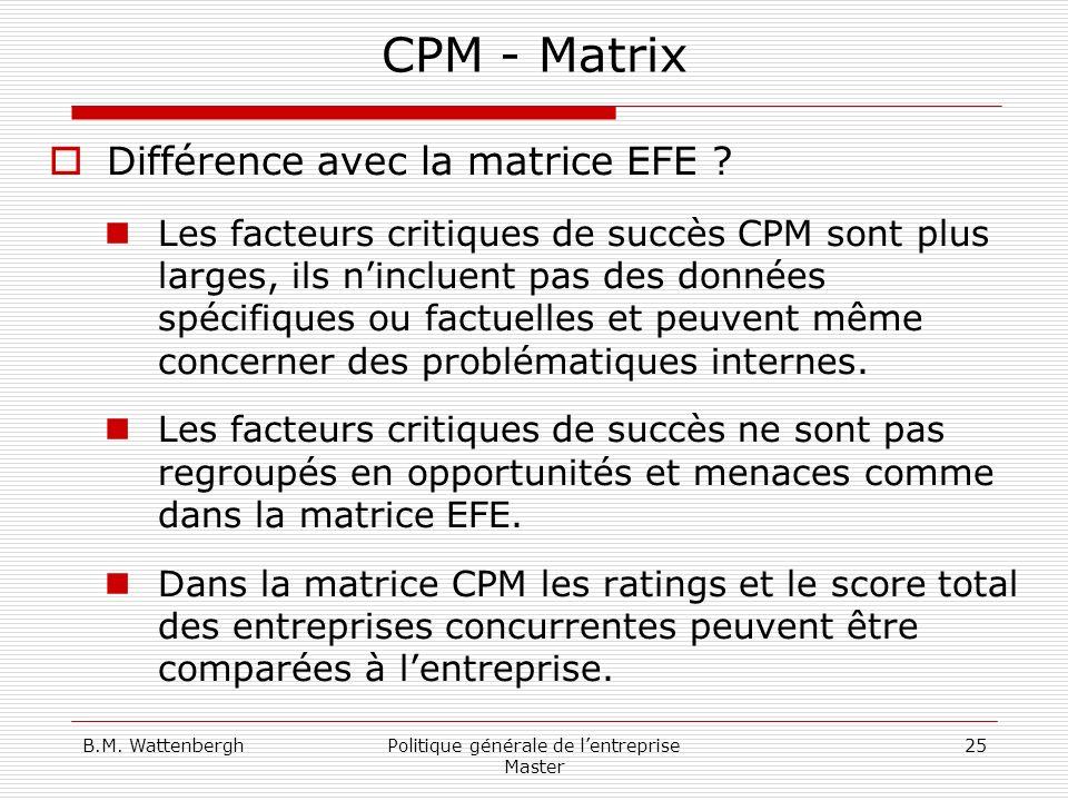 B.M. WattenberghPolitique générale de lentreprise Master 25 CPM - Matrix Différence avec la matrice EFE ? Les facteurs critiques de succès CPM sont pl