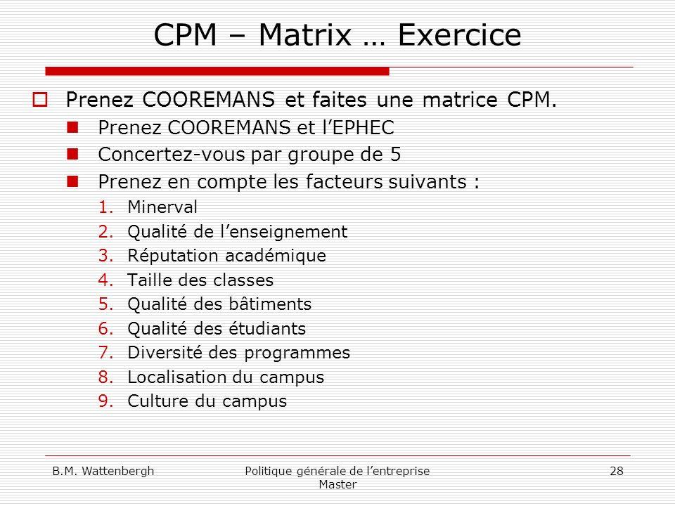 B.M. WattenberghPolitique générale de lentreprise Master 28 CPM – Matrix … Exercice Prenez COOREMANS et faites une matrice CPM. Prenez COOREMANS et lE