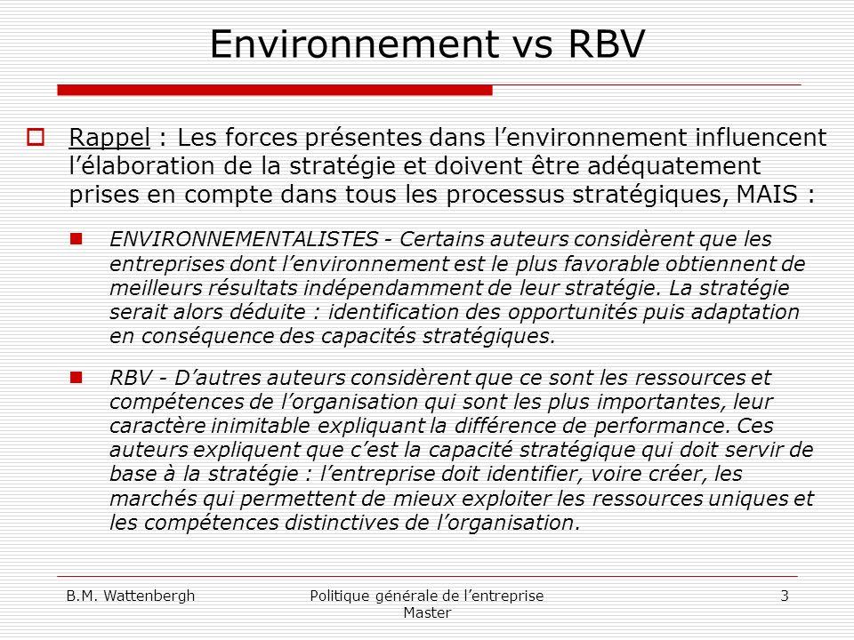 B.M. WattenberghPolitique générale de lentreprise Master 3 Environnement vs RBV Rappel : Les forces présentes dans lenvironnement influencent lélabora