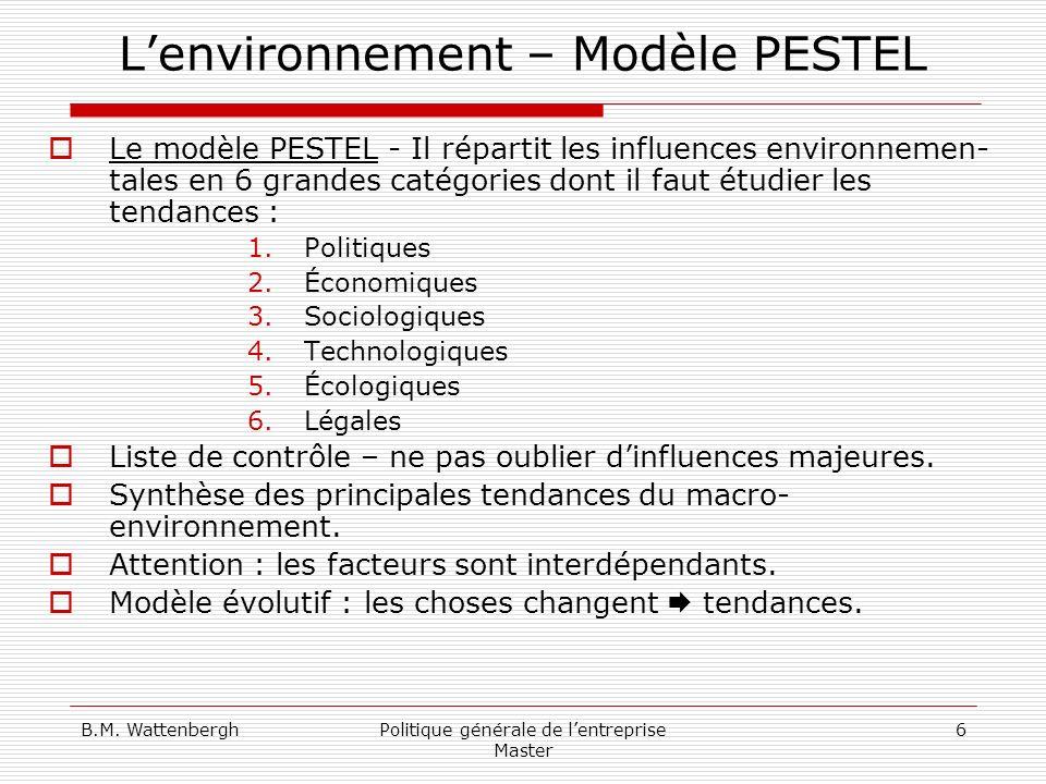 B.M. WattenberghPolitique générale de lentreprise Master 6 Lenvironnement – Modèle PESTEL Le modèle PESTEL - Il répartit les influences environnemen-