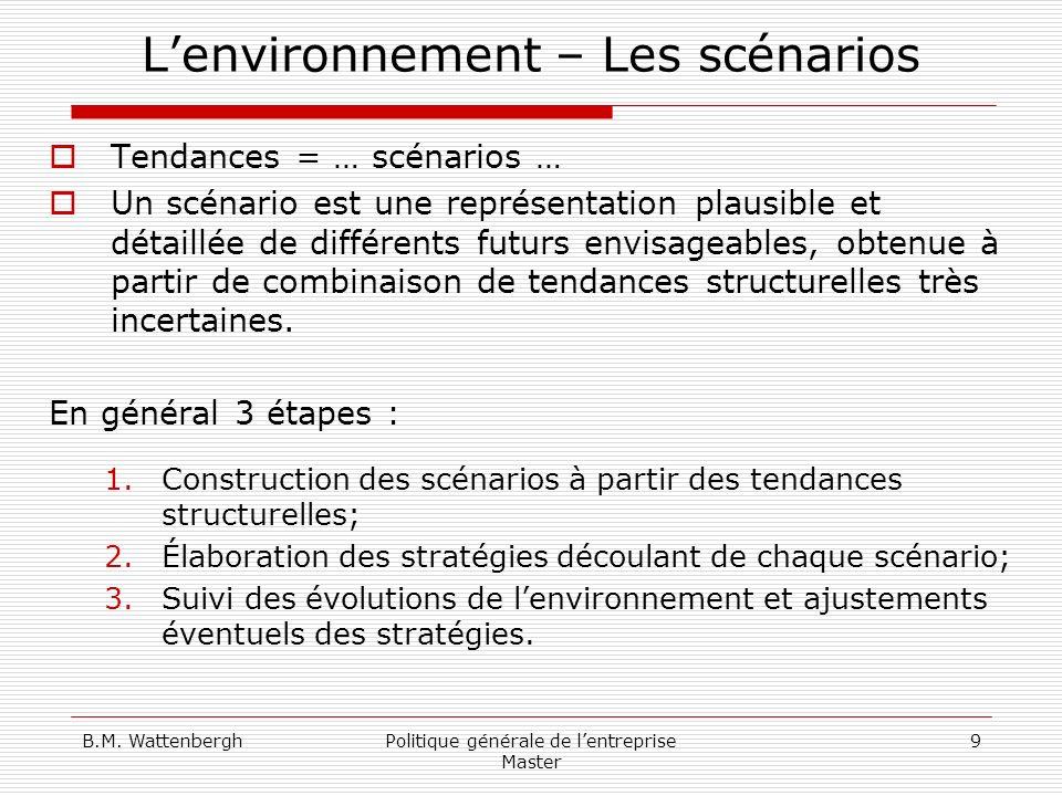 B.M. WattenberghPolitique générale de lentreprise Master 9 Lenvironnement – Les scénarios Tendances = … scénarios … Un scénario est une représentation