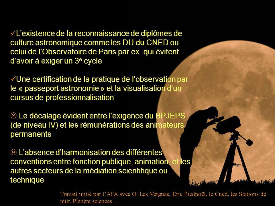 Lexistence de la reconnaissance de diplômes de culture astronomique comme les DU du CNED ou celui de lObservatoire de Paris par ex. qui évitent davoir