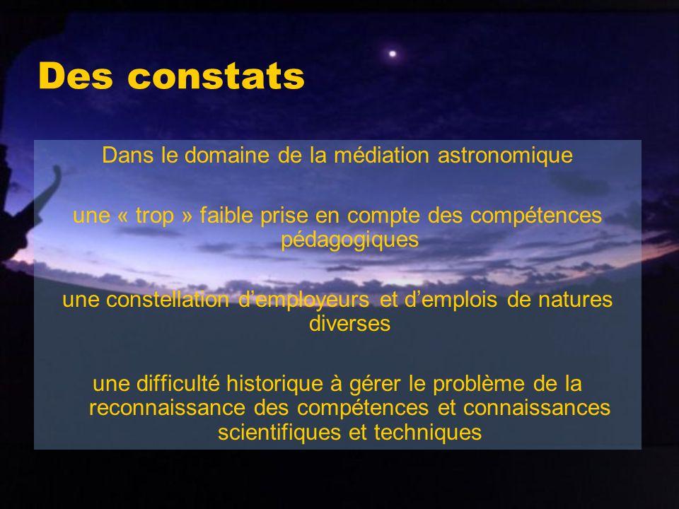 Des constats Dans le domaine de la médiation astronomique une « trop » faible prise en compte des compétences pédagogiques une constellation demployeu