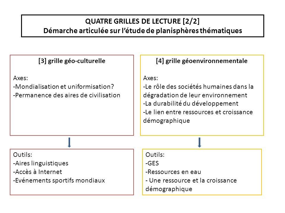 QUATRE GRILLES DE LECTURE [2/2] Démarche articulée sur létude de planisphères thématiques [3] grille géo-culturelle Axes: -Mondialisation et uniformisation.