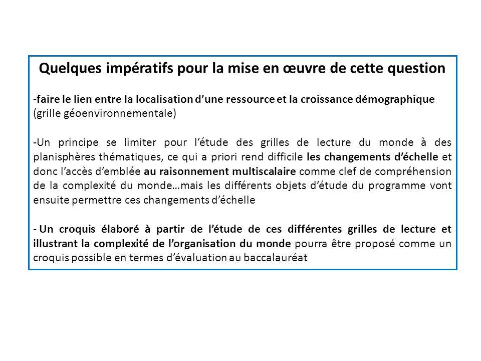 Quelques impératifs pour la mise en œuvre de cette question -faire le lien entre la localisation dune ressource et la croissance démographique (grille
