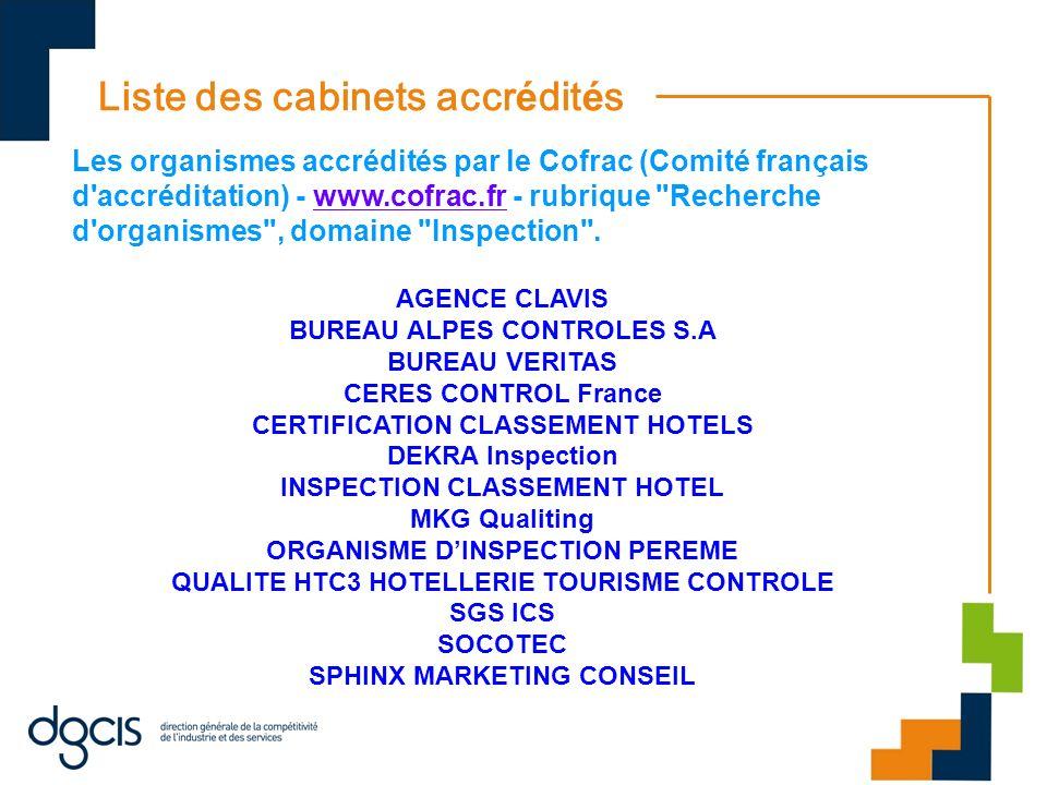 Liste des cabinets accr é dit é s Les organismes accrédités par le Cofrac (Comité français d'accréditation) - www.cofrac.fr - rubrique