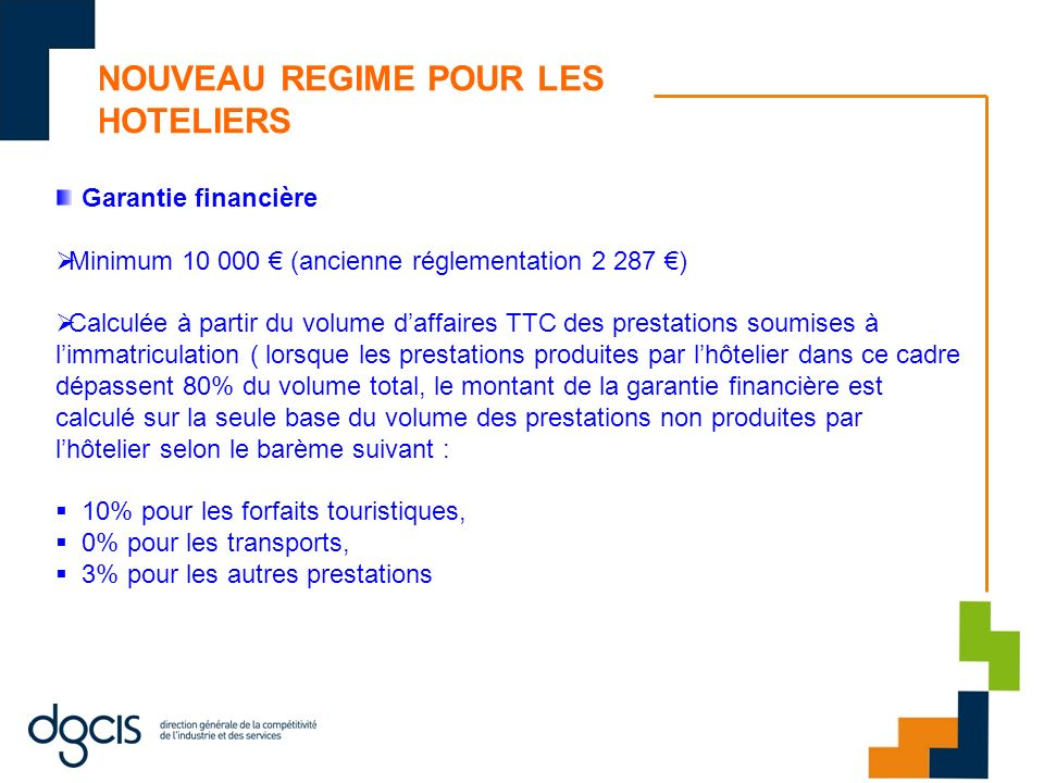 NOUVEAU REGIME POUR LES HOTELIERS Garantie financière Minimum 10 000 (ancienne réglementation 2 287 ) Calculée à partir du volume daffaires TTC des pr