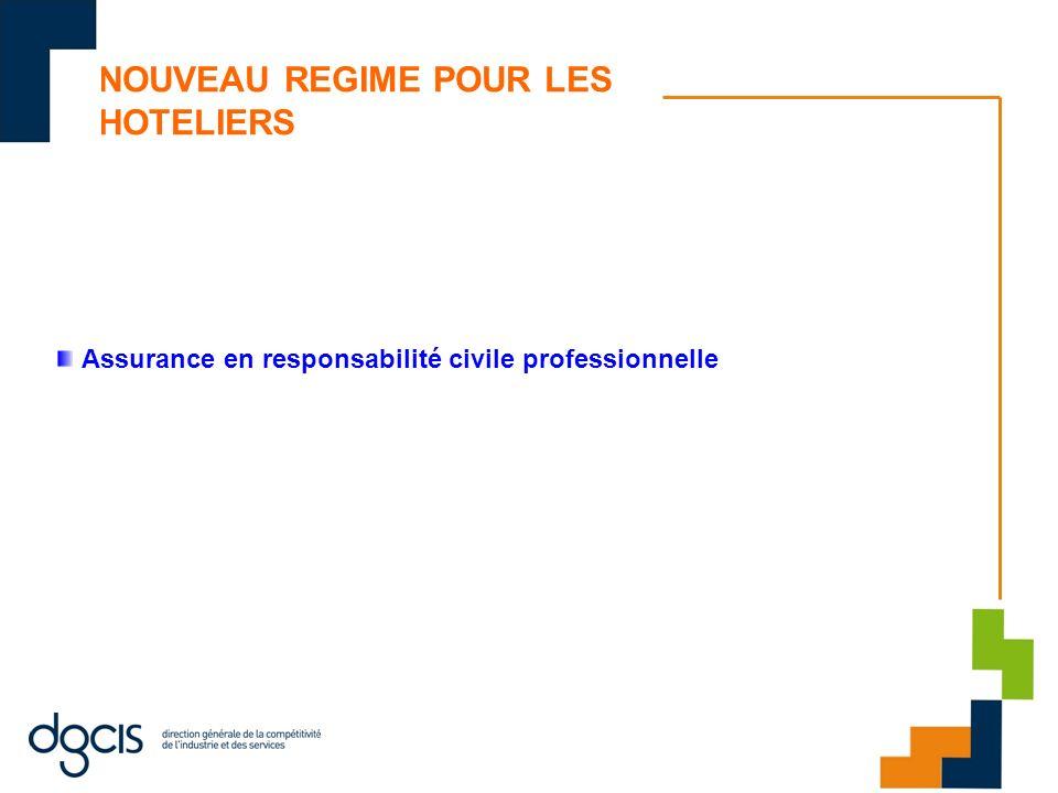 NOUVEAU REGIME POUR LES HOTELIERS Assurance en responsabilité civile professionnelle
