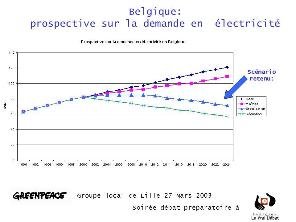 Belgique: prospective sur la demande en électricité Groupe local de Lille 27 Mars 2003 Soirée débat préparatoire à Scénario retenu: