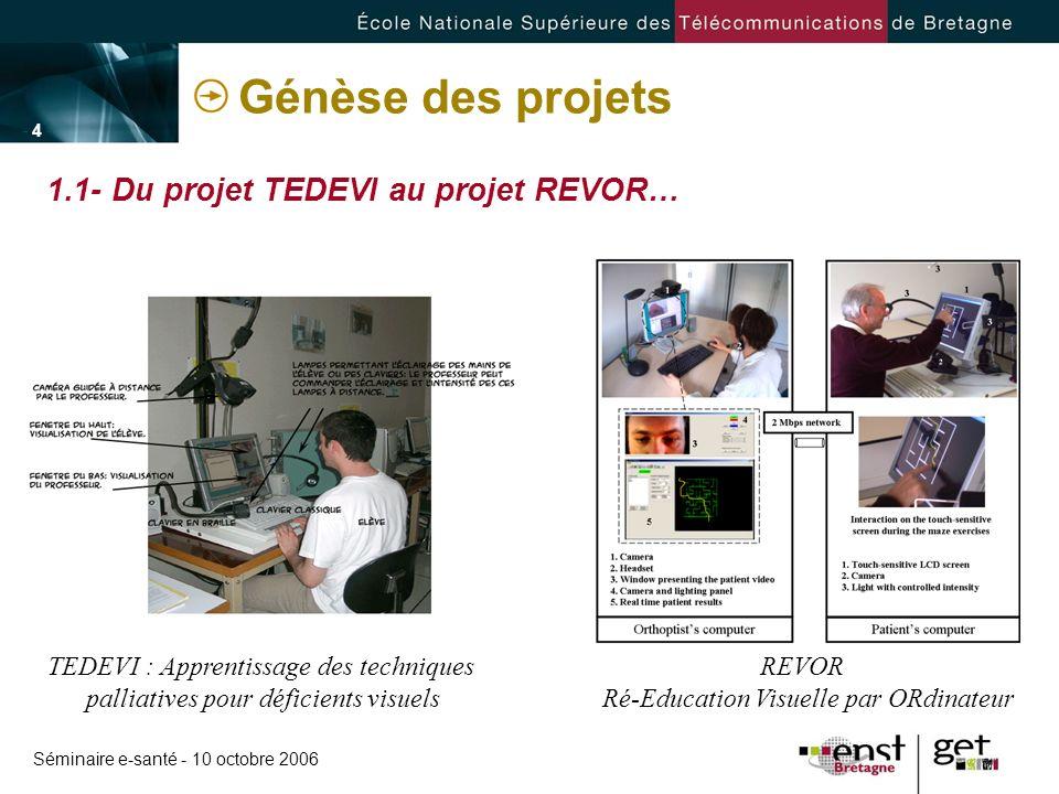 Séminaire e-santé - 10 octobre 2006 - 4 -- 4 - Génèse des projets TEDEVI : Apprentissage des techniques palliatives pour déficients visuels REVOR Ré-E