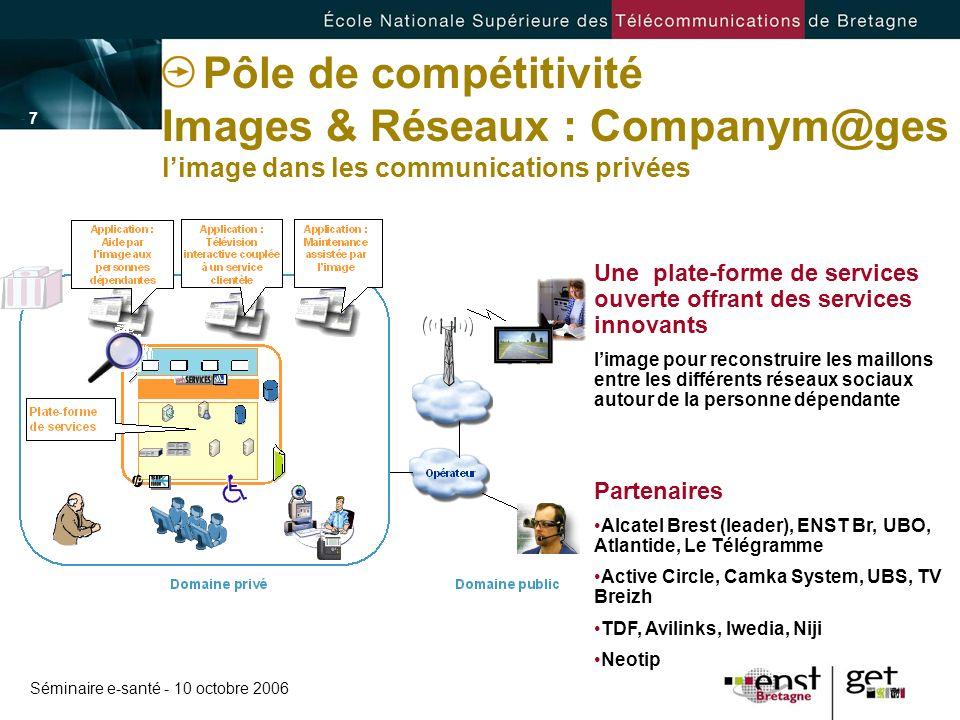 Séminaire e-santé - 10 octobre 2006 - 7 -- 7 - Pôle de compétitivité Images & Réseaux : Companym@ges limage dans les communications privées Une plate-