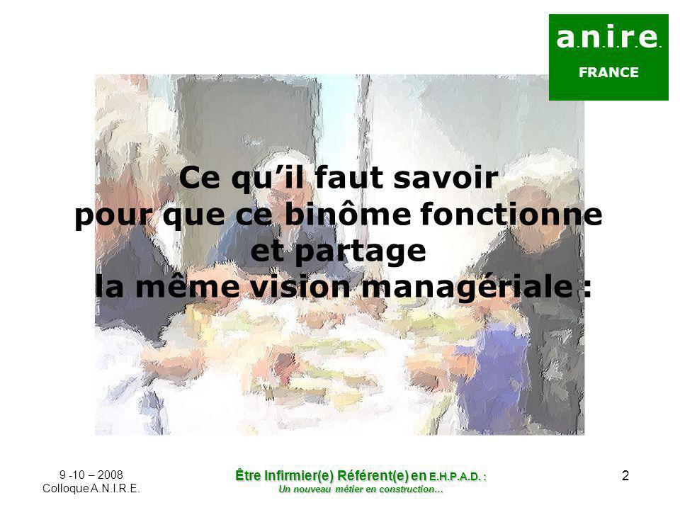 2 a. n. i. r. e. FRANCE Ce quil faut savoir pour que ce binôme fonctionne et partage la même vision managériale : 9 -10 – 2008 Colloque A.N.I.R.E. Êtr