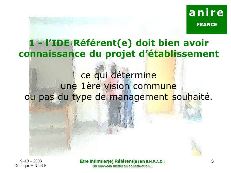 3 a. n. i. r. e. FRANCE 1 - lIDE Référent(e) doit bien avoir connaissance du projet détablissement ce qui détermine une 1ère vision commune ou pas du