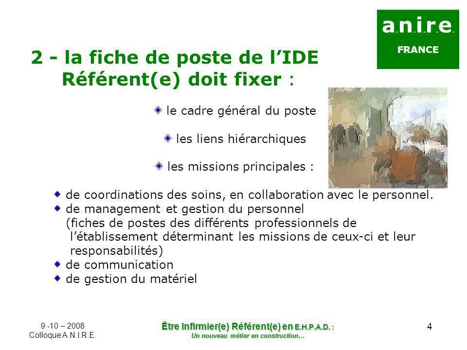 4 a. n. i. r. e. FRANCE 2 - la fiche de poste de lIDE Référent(e) doit fixer : le cadre général du poste les liens hiérarchiques les missions principa