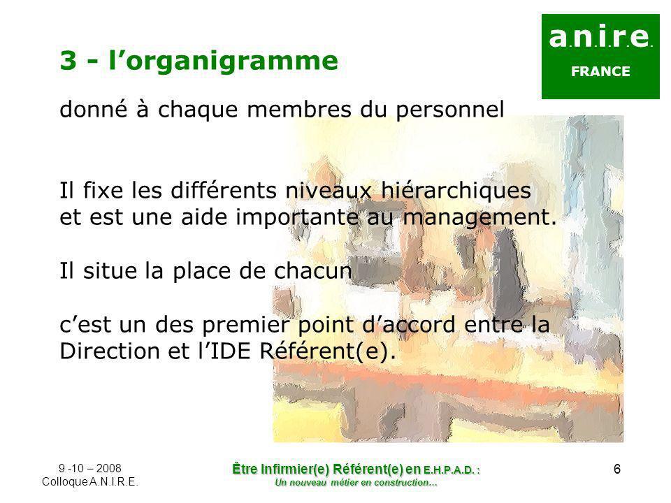 6 a. n. i. r. e. FRANCE 3 - lorganigramme donné à chaque membres du personnel Il fixe les différents niveaux hiérarchiques et est une aide importante