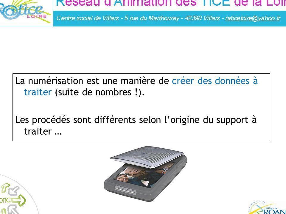 Réalisé par : Franck Guigues – Animateur à la médiahèque de Roanne L A NUMÉRISATION La numérisation est une manière de créer des données à traiter (su