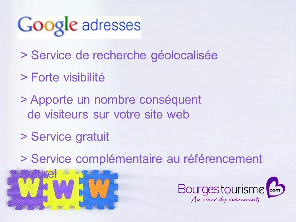 Page 26 > Service de recherche géolocalisée > Forte visibilité > Apporte un nombre conséquent de visiteurs sur votre site web > Service gratuit > Service complémentaire au référencement naturel