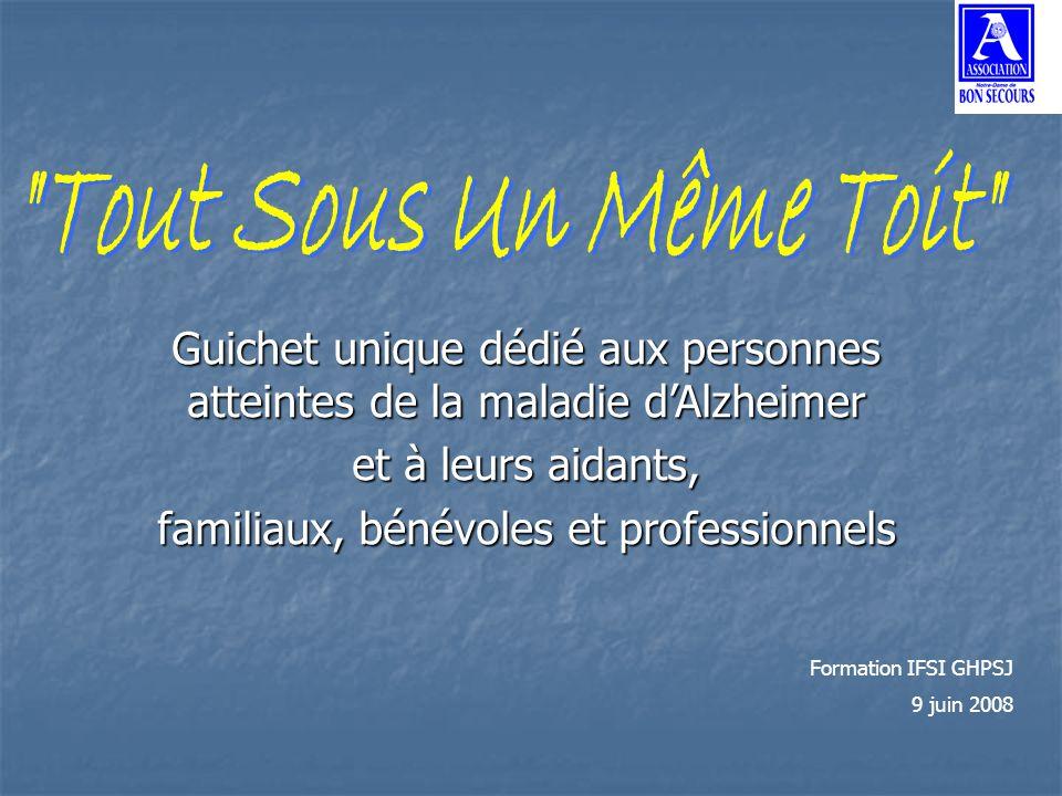 Guichet unique dédié aux personnes atteintes de la maladie dAlzheimer et à leurs aidants, familiaux, bénévoles et professionnels Formation IFSI GHPSJ