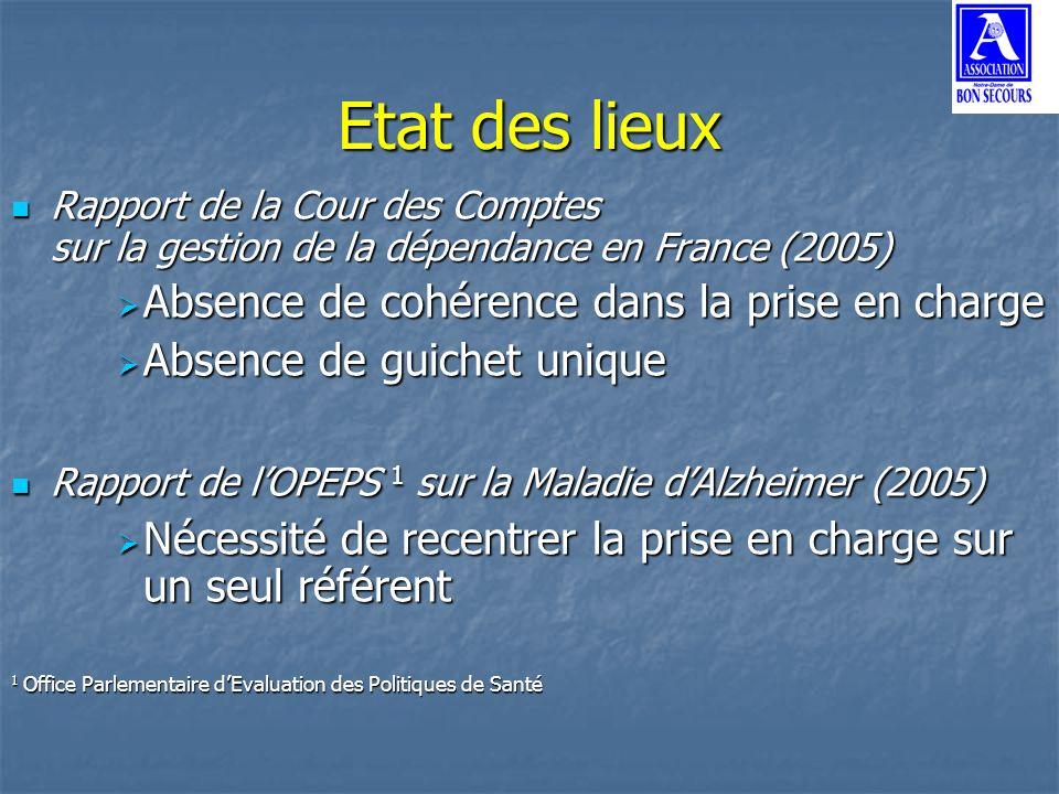Etat des lieux Rapport de la Cour des Comptes sur la gestion de la dépendance en France (2005) Rapport de la Cour des Comptes sur la gestion de la dép