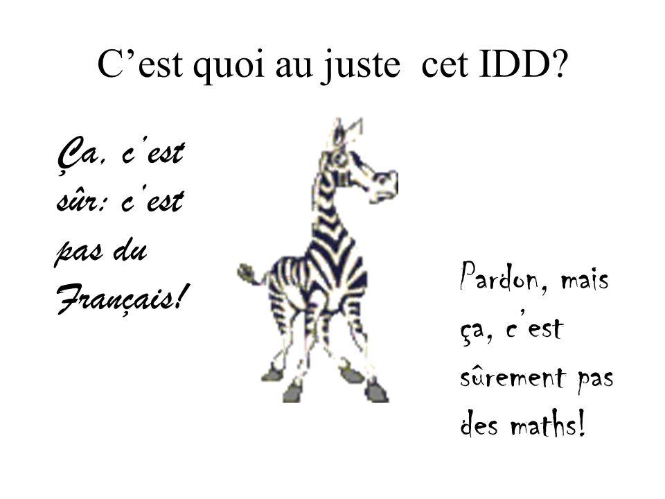 Cest quoi au juste cet IDD. Ça, cest sûr: cest pas du Français.