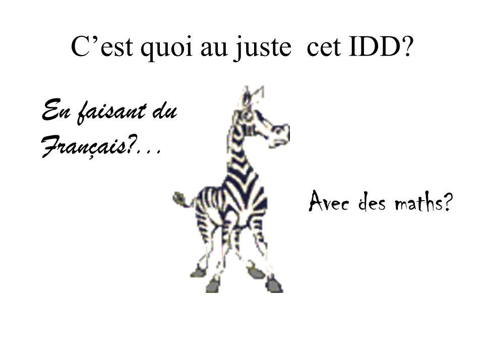 Cest quoi au juste cet IDD En faisant du Français ... Avec des maths