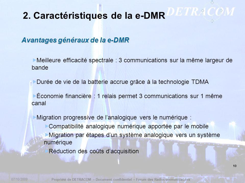 DETRACOM Propriété de DETRACOM – Document confidentiel – Forum des Radiocommunications 10 2. Caractéristiques de la e-DMR Avantages généraux de la e-D
