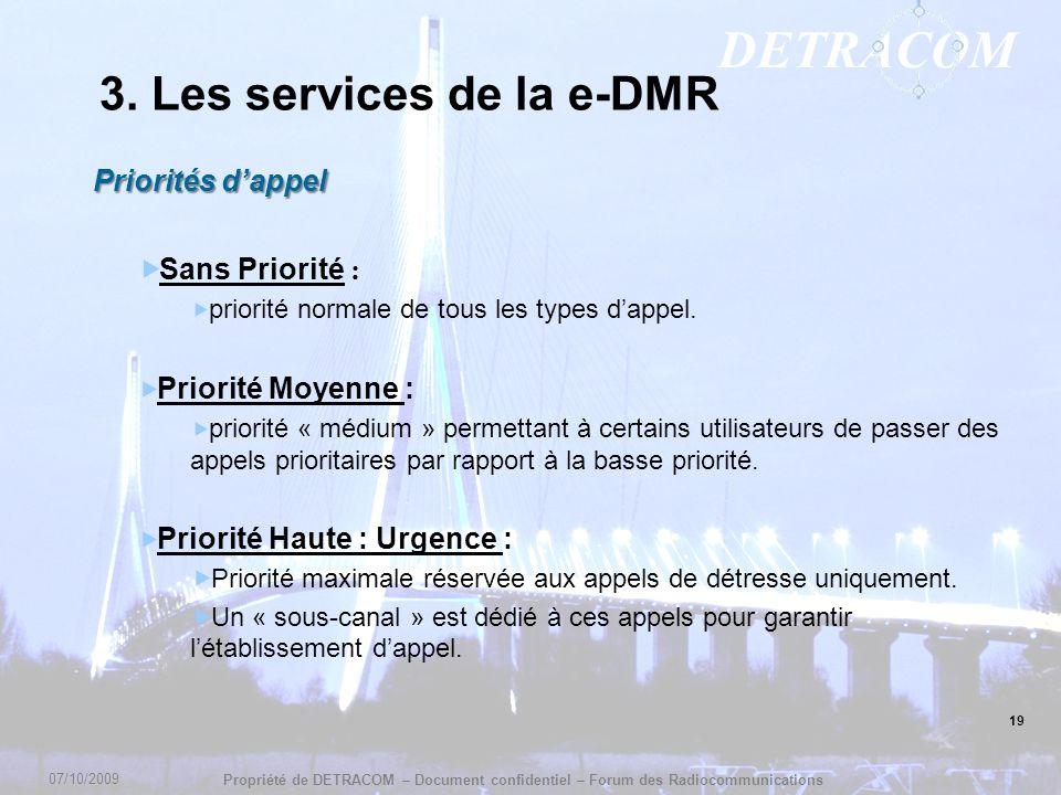 DETRACOM Propriété de DETRACOM – Document confidentiel – Forum des Radiocommunications 19 3. Les services de la e-DMR Priorités dappel Sans Priorité :